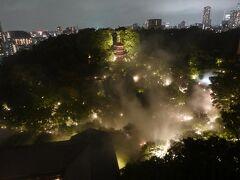お部屋にもどったら 夜の雲海を。  大都会東京の夜に、椿山荘のお庭が別世界の森のように浮かび上がっています。