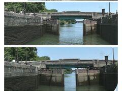 さてその『中島閘門』  前方の水門が閉じられた区画に船が入ると、後方の水門が閉まる
