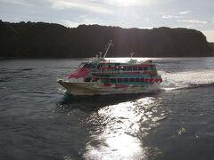 東海汽船の高速船 セブンイレブンアイランド大漁 伊豆大島の岡田港で行き交いました。