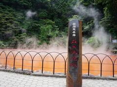 バスで2分、血の池地獄です! (地獄めぐり共通券 バスフリー券所持割引で1,800円/人) バス停を降りて、先に龍巻地獄に立ち寄りましたが、間欠泉が噴き出るのは20分後とのことだったので、血の池地獄からみることに。