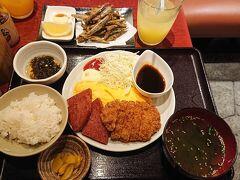 お店「沖縄時間」。夜定食「とんかつボーク玉子定食¥1,150」を注文。
