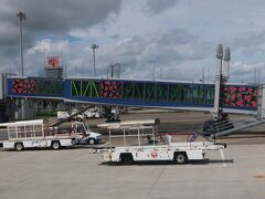 予定より10分ほど早く宮崎ブーゲンビリア空港に到着☆ 晴れてる~~~! 今日の天気予報は曇りだったので嬉しい誤算(=´∀`)人(´∀`=) ボーディングブリッジが可愛くてパチリ☆