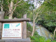 15時半、砂利道を奥へ奥へとずんずん進み、秘境感たっぷりの「カムイワッカ湯の滝」へ。  駐車スペースは10台くらい。その先はもう行くことはできません。