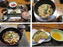 ◆湯乃宿 清盛◆  夕食は1階のレストランで。 イワナの塩焼き、シカ刺し、釜めし、豆乳鍋、そば、野菜の天ぷらなど。 炊き込みご飯は、峠の釜めしよりずっと美味しい。 デザートは梨。手作りって味でとても美味しくて感動です。  今年の宿では、ひらまつ熱海についでこちらが美味しい。 コロナで緊急事態宣言中なので、食事時間は1時間です。  ペットの宿としては、「ひらまつ軽井沢御代田」の10分の1の宿代で、源泉かけ流しとこの料理!!素晴らしいです。