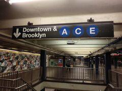 タイムス・スクエア-42 ストリート駅で乗り換え  後から調べてみると最初に乗った駅から乗り換えなしで来られたようだ