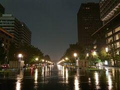 東京駅丸の内駅前広場から背中側に目を向けてみます。 「行幸通り」の夜景です。