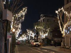 夜の異人館街はあまり人通りはありませんでしたが、北野坂はイルミネーションで彩られていました。