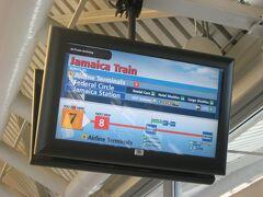 エアトレインJFKの電車接近案内表示。 これから先、ニューヨークの街ではどのような出会いが待っているのでしょうか。