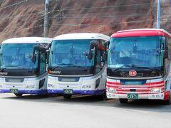 """高野山駅到着---. (【南海バス】&【京阪バス】→""""同居""""になってて吹いたwww)"""