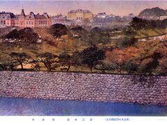 東京名所を紹介する絵葉書に描かれた皇居と参謀本部です。  帝国劇場の屋上から見ている写真です。