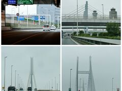 7:20 トンネルを抜けたら、羽田空港! 今回はスルー...  ぐんぐん進んで鶴見つばさ橋 (*>ωノ[◎]ゝパチリ