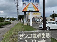 ★計呂地(けろち)珊瑚草群生地★  キムアネップ岬から約16キロ。 この交通公園が目印です。 こちらの駐車場に車を止めます。