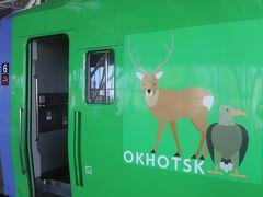 電車の車体にオホーツクのかわいい動物の絵が