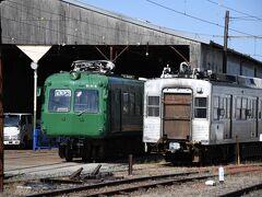 折り返しの電車で、北熊本まで戻ってきました。  ここで上熊本行きの電車に乗り換えです。  青ガエルが止まってました。