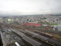 ホテルの最上階から「城東」地区の景観。 (右奥に八甲田山が見える)