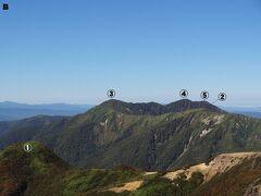 Bの区域。 こちらは那須連山の山々です。  ①隠居倉 ②流石山 ③大倉山 ④三倉山 ⑤一ノ倉  ※間違っていたらゴメンなさい。
