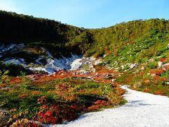 五色温泉に到着し、バスの待ち時間にイワオヌプリの山麓を少し散策。火山の火口のような感じ。