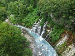 こんな感じ!白い髭のような落差30mの滝が、ミルキーなブルーの美瑛川に流れ落ちます。