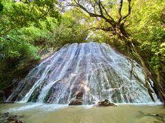 手前の祠で  この旅の安全を祈願してから滝へ  美しいー !!  今まで見た滝で姿は一番美しいかも  岩盤の傾斜、広がり、水量が バランスよくないと  こういうシャンパンタワーのような流れにはならない  木々のトンネル具合も素晴らしい !!  これは奇跡の造形美だ !!
