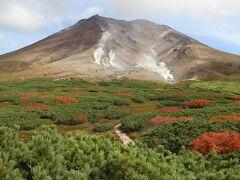 第1展望台から眺めた旭岳の景観です。やや雲がかかってきたのが気になります。