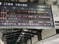 最寄りの駅から東京駅へ。構内では「緊急事態宣言中なので、他県への移動は控えるように」という放送が流れていました。東京駅のこの放送を聞いて、引き返す人がいるのかしらと思いながら、スイカをタッチしてホームへ。聞きたくないものは聞こえない、都合の良い耳を持っていますので。  ようやくここから旅が始まります。