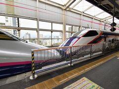 新幹線って改めて乗ってみると速いなぁ…。 1時間半足らずであっという間に福島駅に到着しちゃった。  福島駅ではE2系のやまびこ号との切り離し。 電車の分離は岡山駅でのサンライズ号切り離しと並ぶ、切り離しの名所ですね。 でも岡山駅と違って、分離した後のつばさ号はそのまま出発してしまうので切り離しの瞬間は見れません。悪しからず~。