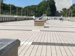 ジャイアントパンダ像の先の方にあるこちらの通路が「パンダ橋」です。 上野駅入谷口と上野公園方面を結ぶ立派な連絡通路で、道幅がとても広く歩きやすいのですが、人はまばらです。(10/3(日の11時過ぎ) ハトが数羽いました。