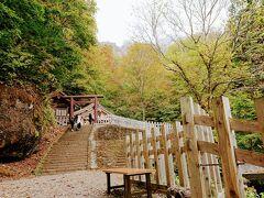 九頭龍神社の前から見た戸隠神社奥社と、背後の戸隠山。