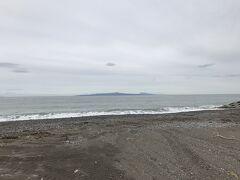 野付半島に到着。国後島がハッキリと見える。