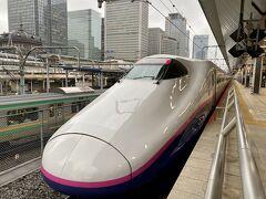 一週間後、再び東京駅の新幹線ホームにやってきました。 新幹線に乗るときは、もはやルーティーンになっている先頭車両のパチリ(笑)  業務時間内の移動なので車内でメールチェックでもしようとしたらノートパソコンの電源が入らない。((((;゚Д゚)))))))  今回はいつも借りているパナソニックではなく富士通のノートパソコン。 昨日、充電夜まで満タン充電してカバンの中に入れて置いたのに・・・・・ 会社の人が富士通のノートパソコンは充電切れすぐ起こすから気をつけたほうがいいですよって言ってたな。  車内でコンセントを探すも古いE2系新幹線はコンセントが無い。((((;゚Д゚)))))))  メール溜まってるの嫌だから、車内で処理したかったのになあ。