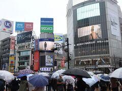 渋谷スクランブル交差点 朝から冷たい雨風の日となりました  (表紙は雨がやんだ日曜日夕方の様子です ものすごい人流でした)