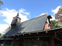レストランから歩いて、聖パウロカトリック教会へ。 三角屋根が有名です。