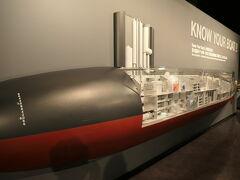 展示室は、1階・海上自衛隊の歴史、2階・掃海艇の活躍、3階・潜水艦の活躍、潜水艦あきしお体験となっている。  1階と2階はさらっと流して、ここは潜水艦に関しての展示から。
