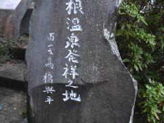 箱根温泉発祥の碑があります。  湯本熊野神社の前にあります。