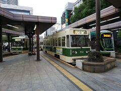 広島駅です。 市電が3編成それぞれ違うタイプだったので撮りました。
